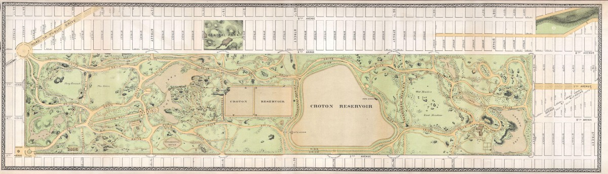 Plan of Central Park, New York City, by Frederick Law Olmsted and Calvert Vaux, 1869.